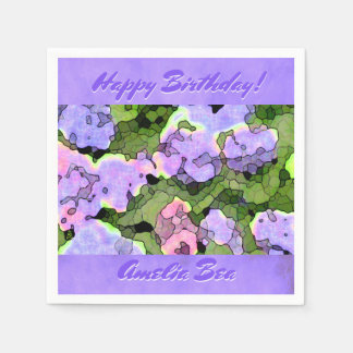 Watercolor Batik Hydrangeas Personalized Paper Napkins