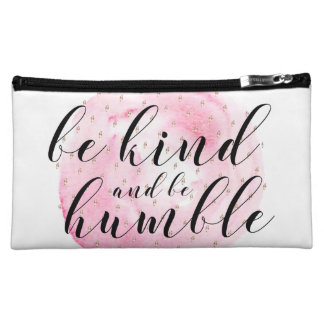 Watercolor Be Kind and Be Humble Quote Makeup Bags