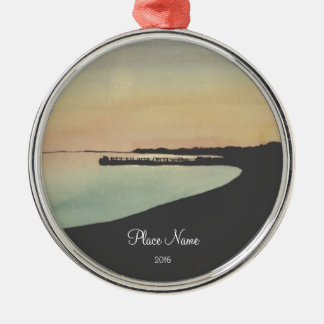 Watercolor Beach Pier Sunset Christmas Ornament