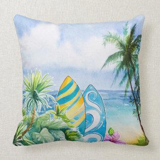 Watercolor beach scene cushion