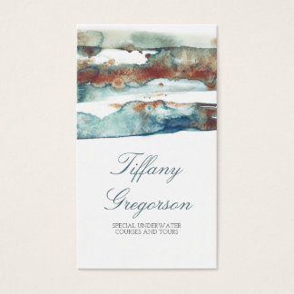 Watercolor Beach Splash Modern Tropical Ocean Business Card
