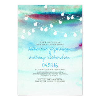 watercolor beach string lights engagement party card