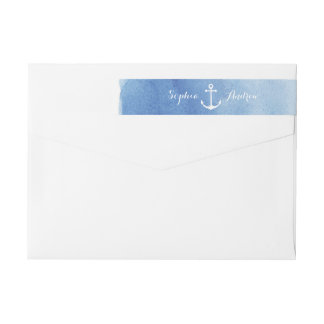 Watercolor beach wedding nautical anchor monogram wrap around label