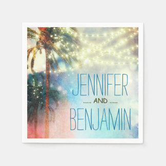 watercolor beach wedding string lights disposable serviettes
