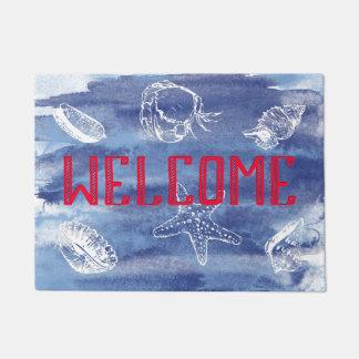 Watercolor Beach Welcome Blue Red Doormat