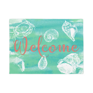 Watercolor Beach Welcome Teal Green Coral Doormat