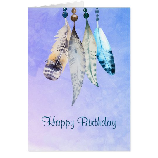 Watercolor Beads 'n Feathers Happy Birthday Card