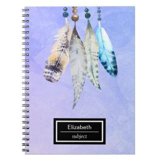 Watercolor Beads 'n Feathers on Bluish Purple Notebook