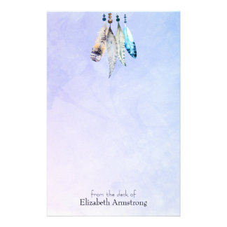 Watercolor Beads 'n Feathers on Bluish Purple Stationery
