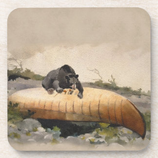 Watercolor Bear on a Canoe Vintage Painting Coaster