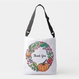 Watercolor Beautiful Pumpkin Wreath with leaves Crossbody Bag