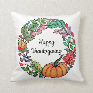 Watercolor Beautiful Pumpkin Wreath with leaves Cushion