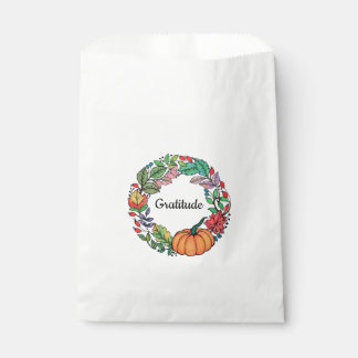 Watercolor Beautiful Pumpkin Wreath with leaves Favour Bags