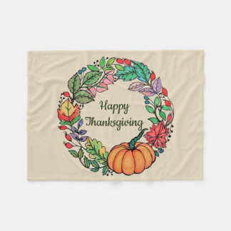 Watercolor Beautiful Pumpkin Wreath with leaves Fleece Blanket