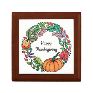 Watercolor Beautiful Pumpkin Wreath with leaves Gift Box