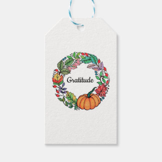Watercolor Beautiful Pumpkin Wreath with leaves Gift Tags