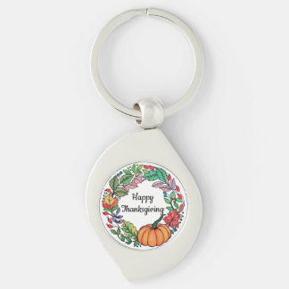 Watercolor Beautiful Pumpkin Wreath with leaves Key Ring
