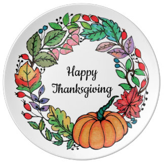 Watercolor Beautiful Pumpkin Wreath with leaves Plate