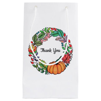Watercolor Beautiful Pumpkin Wreath with leaves Small Gift Bag