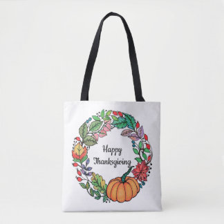 Watercolor Beautiful Pumpkin Wreath with leaves Tote Bag
