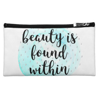 Watercolor Beauty Quote Cosmetic Bag
