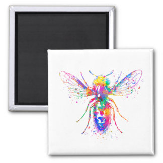 Watercolor Bee 2 Inch Square Magnet
