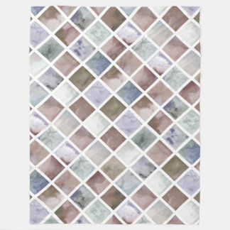 Watercolor . Beige and grey squares . Fleece Blanket