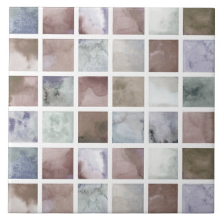 Watercolor . Beige and grey squares . Tile