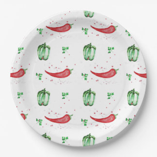 Watercolor bell and chilly peppers design 9 inch paper plate