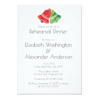 Watercolor Bell Christmas Wedding Rehearsal Dinner Card