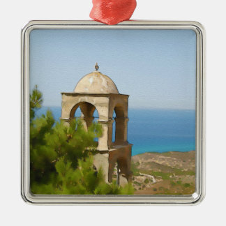 Watercolor bell tower christmas ornament