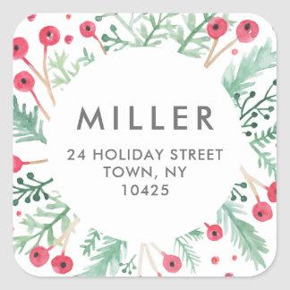 Watercolor Berries Diamond Holiday Address Sticker
