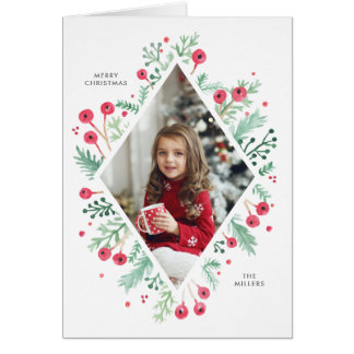 Watercolor Berries Diamond Holiday Fold Photo Card