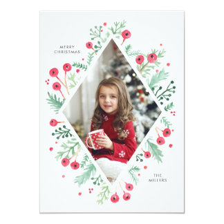 Watercolor Berries Diamond Holiday Photo Card