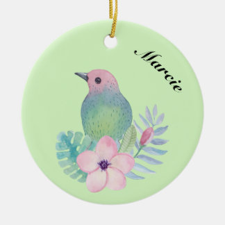Watercolor Bird and Flower Christmas Ornament