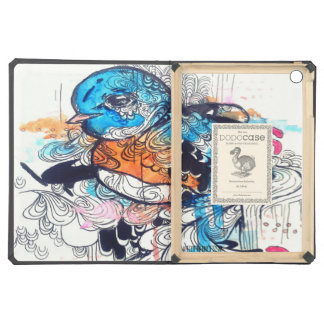 watercolor bird drawing, psychedelic art iPad air covers