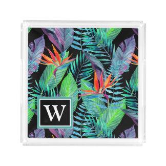Watercolor Bird Of Paradise | Add Your Initial Acrylic Tray