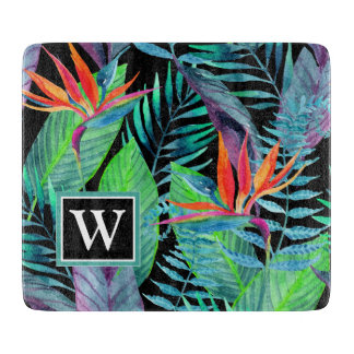 Watercolor Bird Of Paradise | Add Your Initial Cutting Board