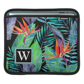 Watercolor Bird Of Paradise | Add Your Initial iPad Sleeve