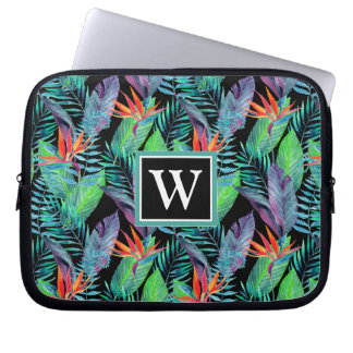 Watercolor Bird Of Paradise | Add Your Initial Laptop Sleeve