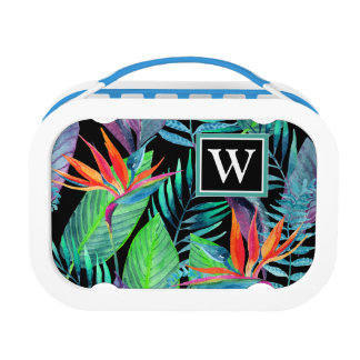 Watercolor Bird Of Paradise | Add Your Initial Lunch Box