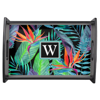 Watercolor Bird Of Paradise | Add Your Initial Serving Tray