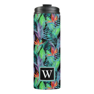 Watercolor Bird Of Paradise   Add Your Initial Thermal Tumbler