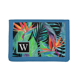 Watercolor Bird Of Paradise | Add Your Initial Trifold Wallet