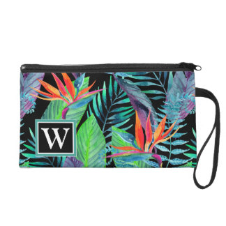 Watercolor Bird Of Paradise | Add Your Initial Wristlet