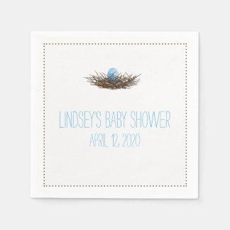 Watercolor Bird's Nest   Baby Boy Shower Paper Napkin