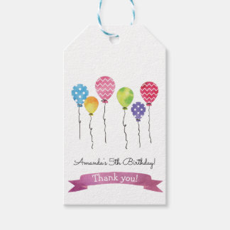 Watercolor Birthday Balloons Gift Tags