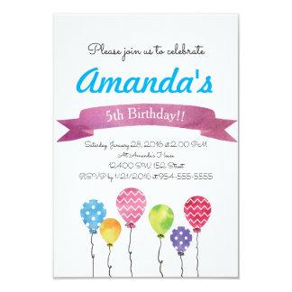 Watercolor Birthday Balloons Invitations