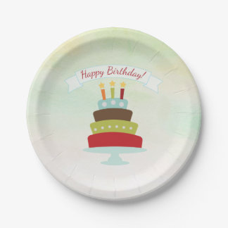 Watercolor Birthday Cake Birthday Party Paper Plate