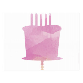 Watercolor Birthday Card - Pink Birthday Cake Postcard